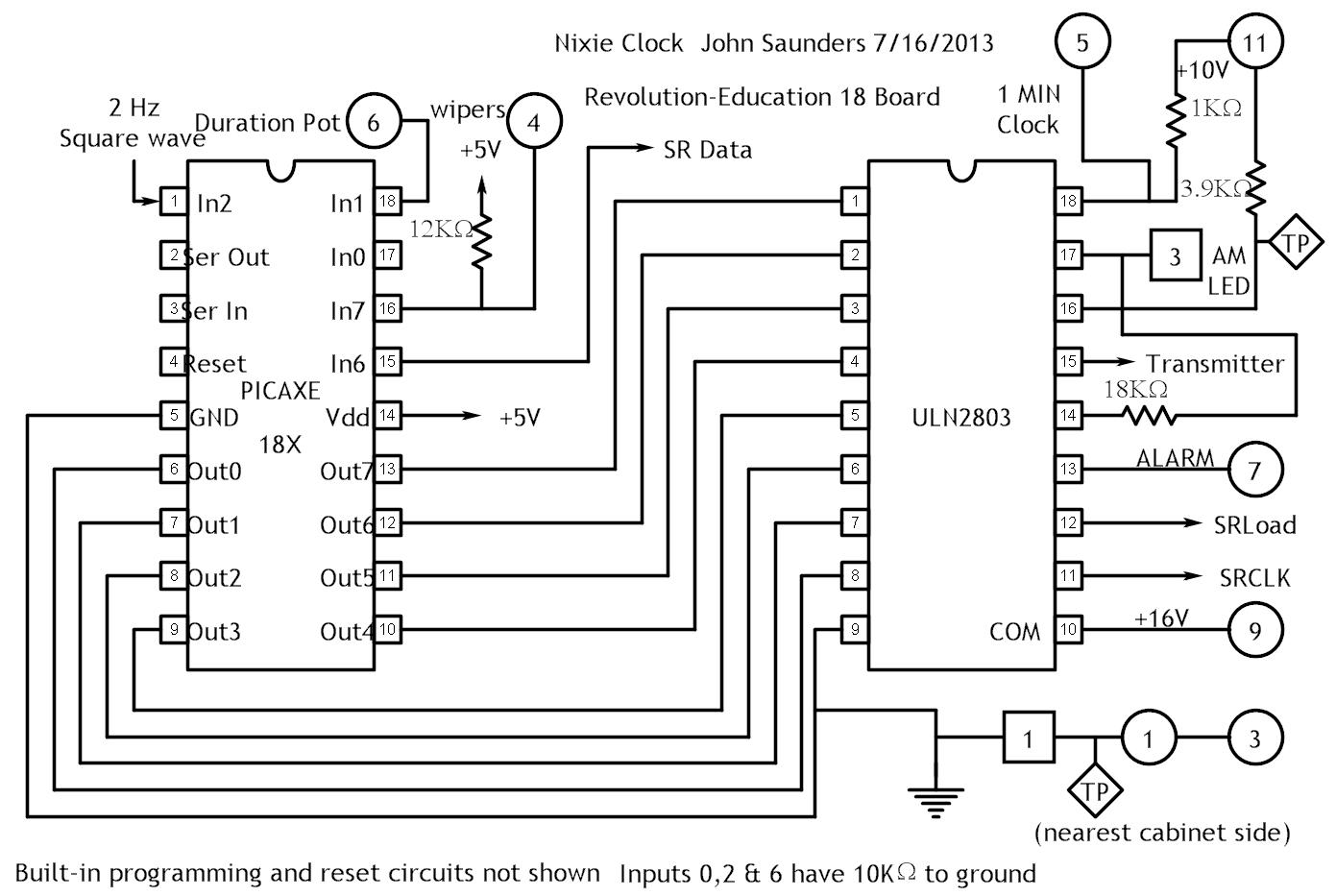 nixie clock circuit diagrams